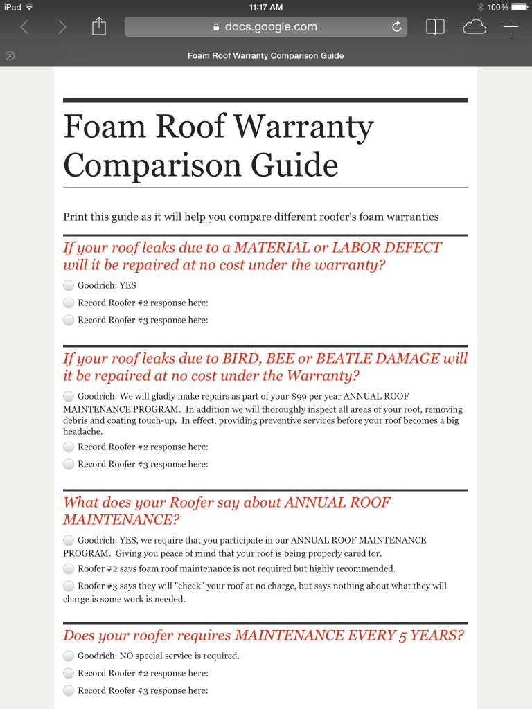 Foam Roof Warranty Comparison Guide