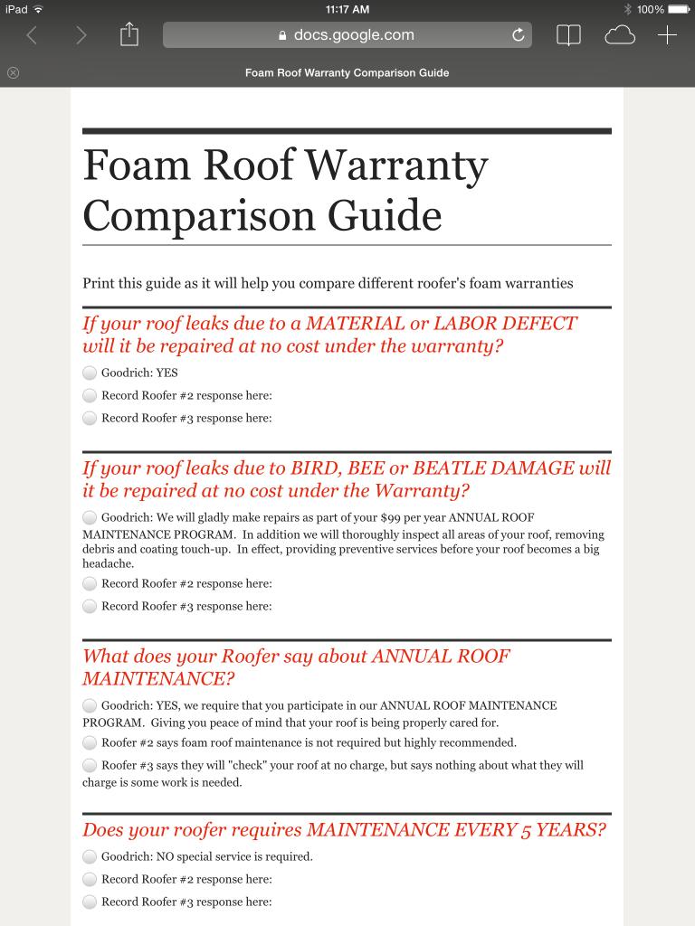 Foam Roof Warranty Comparison Guide