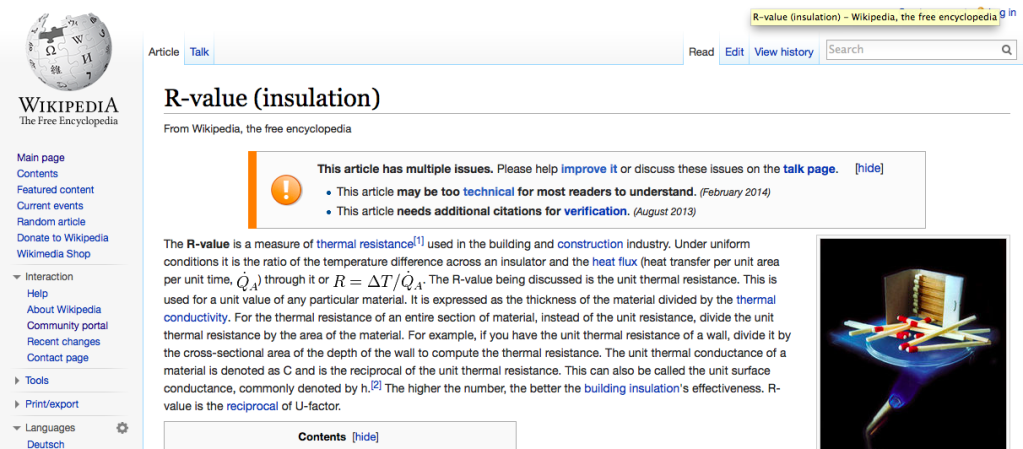 Click to link to Wikipedia R-value (insulation) page